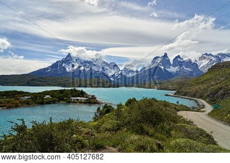 Cuernos, Horns Of Torres Del Paine Covered With Snow At Torres Del Paine National Park In The Andes