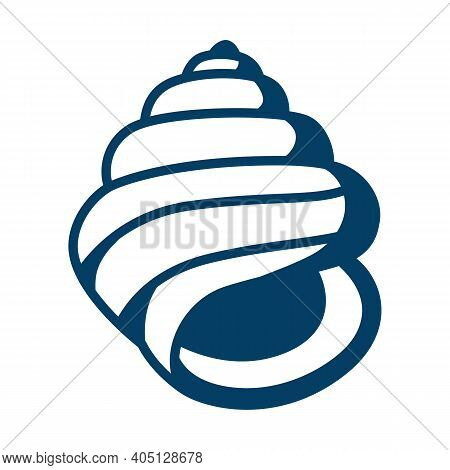 Illustration Of Seashell. Tropical Underwater Decorative Mollusk Shell.