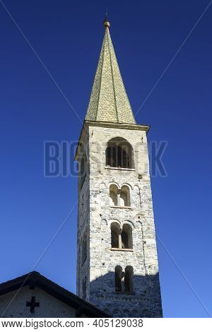 Bormio, Sondrio Province, Lombardy, Italy: Exterior Of Old Typical Belfry