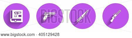 Set Book With Pistol Or Gun, Pistol, Military Knife And Hunting Icon With Long Shadow. Vector