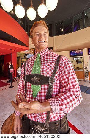 Vienna, Austria - September 2018: Arnold Schwarzenegger Wax Figure In Madame Tussauds Museum