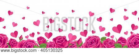 Seamless Border Of Hearts And Roses. Vector Illustration, Background For Valentine S Day, Cards With