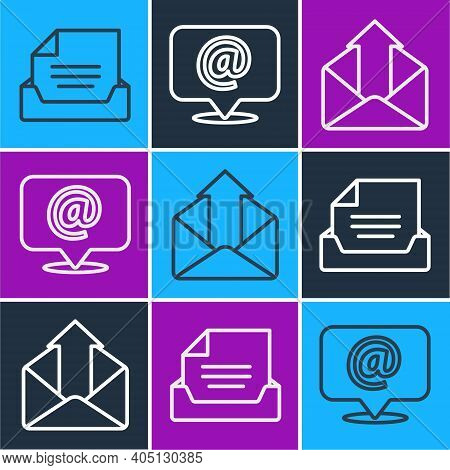 Set Line Drawer With Document, Outgoing Mail And Mail And E-mail On Speech Bubble Icon. Vector