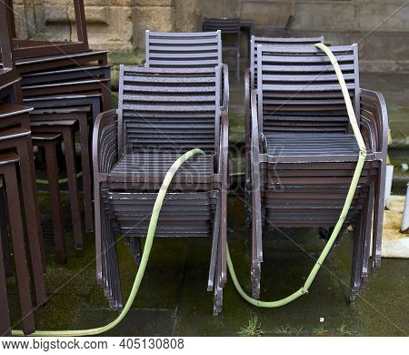 Chairs On The Terrace Of A Restaurant During The Confinement By Covid-19