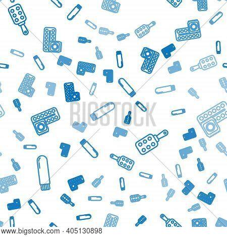 Set Line Dildo Vibrator, Spanking Paddle And Birth Control Pills And Condom On Seamless Pattern. Vec