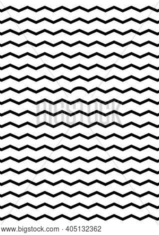 Geometrical abstract poster - black zigzag lines on transparent background. Geometrical shapes - one is different from the rest. For cover, banner, card, booklet. Ideal funny gift for perfectionist.