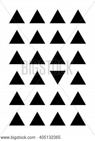 Black triangles on transparent background. Abstract geometrical poster. Geometrical shapes - one is different from the rest. For cover, banner, card, booklet. Ideal funny gift for perfectionist.