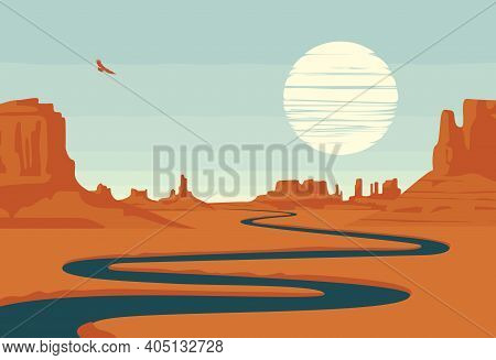 Vector Landscape With Deserted Valley, Mountains, Dark Winding River And Flying Eagle In The Sky. We