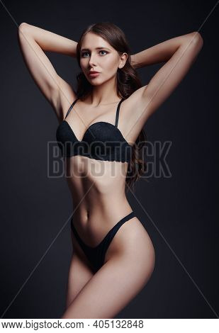 Studio Fashion: Portrait Of Gorgeous Young Woman In Lingerie. Sexy Beautiful Girl In Underwear Again