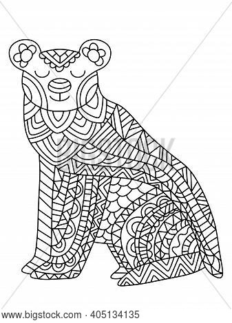 Peaceful Polar Bear Coloring Page For Kids And Adults. Detailed Black Outline Arctic Animal With Orn