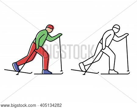 Cross-country Skiing. Skier Runs The Distance. Vector Icons In Flat Style