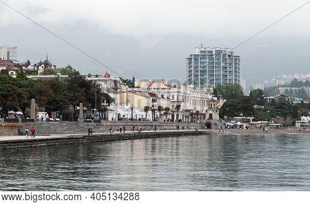 Yalta, Crimea - May 8, 2018: Coastal Landscape Of Yalta Resort Town At The South Coast Of The Crimea