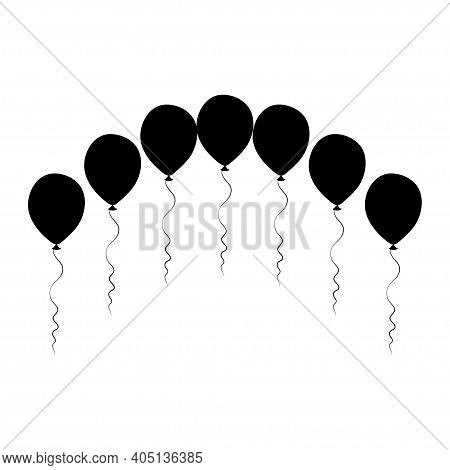 Silhouette Balloons Arch. Birthday Baloons For Party And Celebrations. Isolated On White Background.