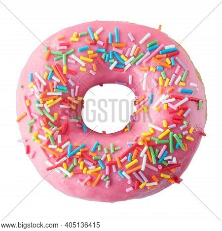 Donut In Pink Glaze With Colored Sprinkles. Isolated On A White Background.