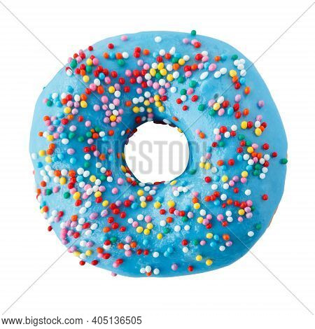 Donut In Blue Glaze With Colored Sprinkles. Isolated On A White Background.