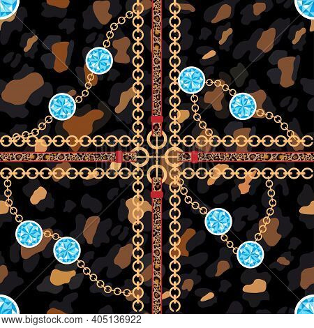 Vector Seamless Pattern Of Baroque Trend, Golden Chain With Blue Topaz Stone, Leather Belts On Leopa