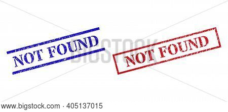 Grunge Not Found Rubber Stamps In Red And Blue Colors. Stamps Have Draft Surface. Vector Rubber Imit