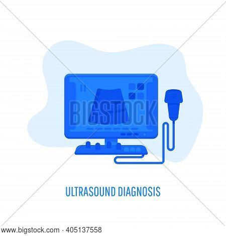 Ultrasound Diagnosis, Ultrasound Machine. Hospital Diagnostic Equipment. Doppler Ultrasonography And