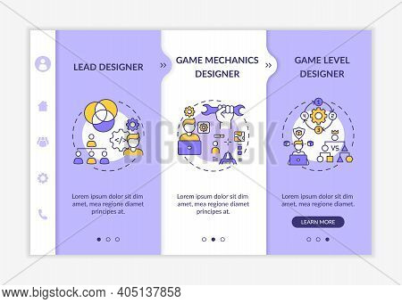 Game Designers Types Onboarding Vector Template. Game Mechanics Designer Of Team Game Project. Respo