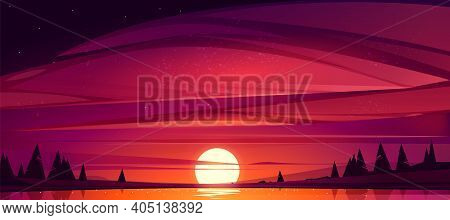 Sunset On Lake, Red Sky With Sun Going Down The Pond Surrounded With Trees. Beautiful Nature Scenic