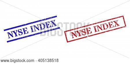 Grunge Nyse Index Rubber Stamps In Red And Blue Colors. Seals Have Rubber Texture. Vector Rubber Imi