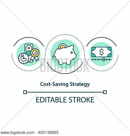 Cost Saving Strategy Concept Icon. Identify Target Cost Categories For Saving Opportunities. Economi