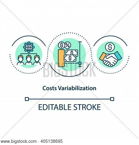 Costs Variabilization Concept Icon. Transformation Of Fixed Costs And Charges Into Variable Models.