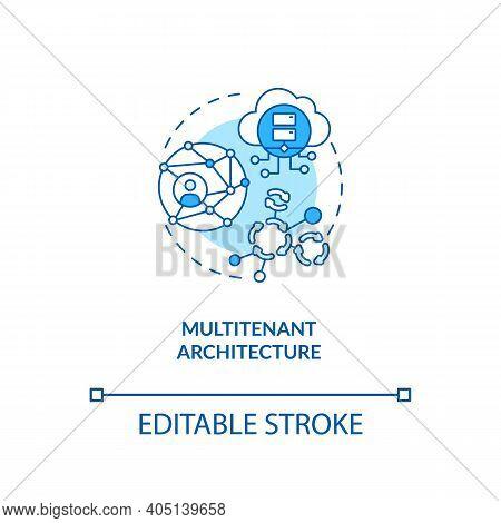Multitenant Architecture Concept Icon. Saas Advantage Idea Thin Line Illustration. Operating In Shar