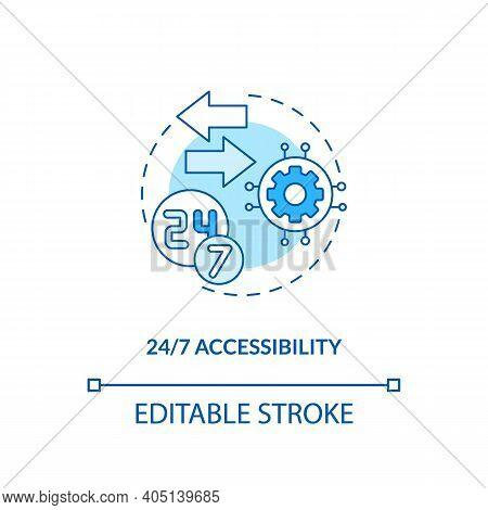 24 To7 Accessibility Concept Icon. Saas Advantage Idea Thin Line Illustration. Customer-facing Techn