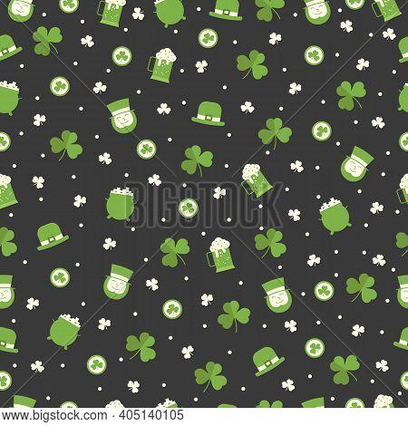 St Patricks Day Seamless Pattern With Irish Man, Clover, Leprechaun Hat, Beer On Black Background. G