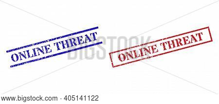 Grunge Online Threat Rubber Stamps In Red And Blue Colors. Seals Have Rubber Surface. Vector Rubber