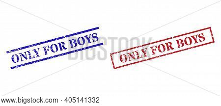 Grunge Only For Boys Rubber Stamps In Red And Blue Colors. Stamps Have Rubber Style. Vector Rubber I