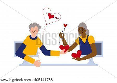 Seniors Couple Is Celebrating Together Valentines Day Online. Valentines Day Celebration With Your L