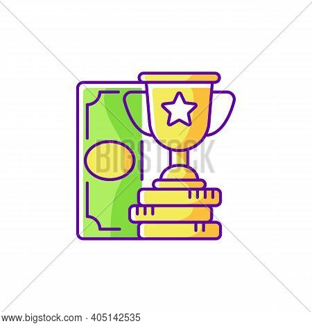 Winning Rgb Color Icon. Cash Prize. Victory. Becoming Profitable Sports Bettor. Keeping Winning Bet.