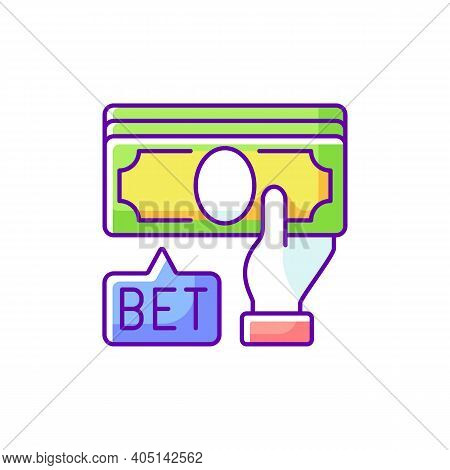 Placing Bet Rgb Color Icon. Gambling Act. Betting Money On Sport Events. Making Wager On Outcome. Pr