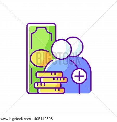 Refer-a-friend-program Rgb Color Icon. Referral Program. Receiving Bonus, Benefit. Rewards Card. Enc