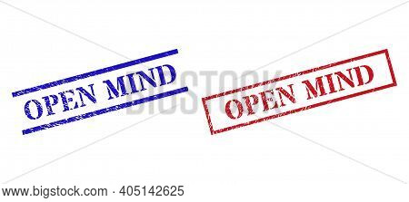 Grunge Open Mind Rubber Stamps In Red And Blue Colors. Seals Have Rubber Texture. Vector Rubber Imit