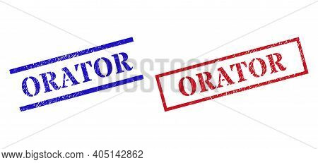 Grunge Orator Rubber Stamps In Red And Blue Colors. Stamps Have Draft Texture. Vector Rubber Imitati
