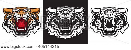 Angry Tiger Face. Set Of Tiger Faces. Wild Hunter. Vector.
