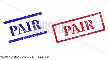 Grunge Pair Rubber Stamps In Red And Blue Colors. Stamps Have Draft Surface. Vector Rubber Imitation