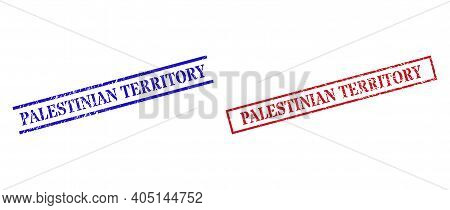 Grunge Palestinian Territory Stamp Seals In Red And Blue Colors. Seals Have Draft Style. Vector Rubb