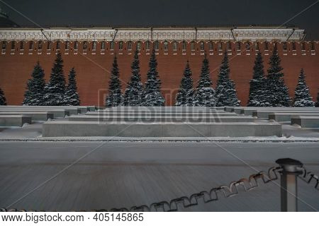 16.01.2021 Russia, Moscow. View Of The Necropolis Near The Kremlin Wall.