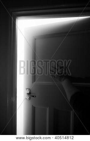 Domestic Abuse, Fear, Mystical Door Or Unknown Confronted By Female Hand.