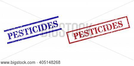 Grunge Pesticides Rubber Stamps In Red And Blue Colors. Seals Have Draft Style. Vector Rubber Imitat