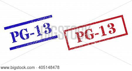 Grunge Pg-13 Rubber Stamps In Red And Blue Colors. Seals Have Draft Style. Vector Rubber Imitations