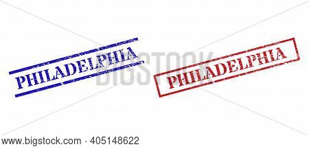 Grunge Philadelphia Rubber Stamps In Red And Blue Colors. Stamps Have Distress Texture. Vector Rubbe