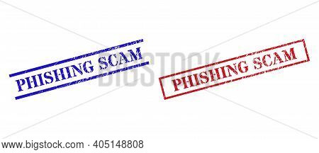 Grunge Phishing Scam Rubber Stamps In Red And Blue Colors. Stamps Have Rubber Style. Vector Rubber I