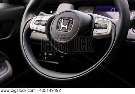 Prague, Czech Republic - October 6, 2020: Steering Wheel Of Honda Vehicle In Prague, Czech Republic,