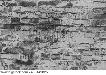 Background Facade Brick Wall Black And White. Vintage Old Brick Wall Texture. Grunge Stone Wall Hori