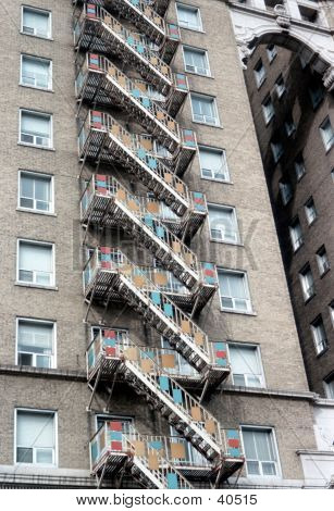 fire escape on outside of building poster